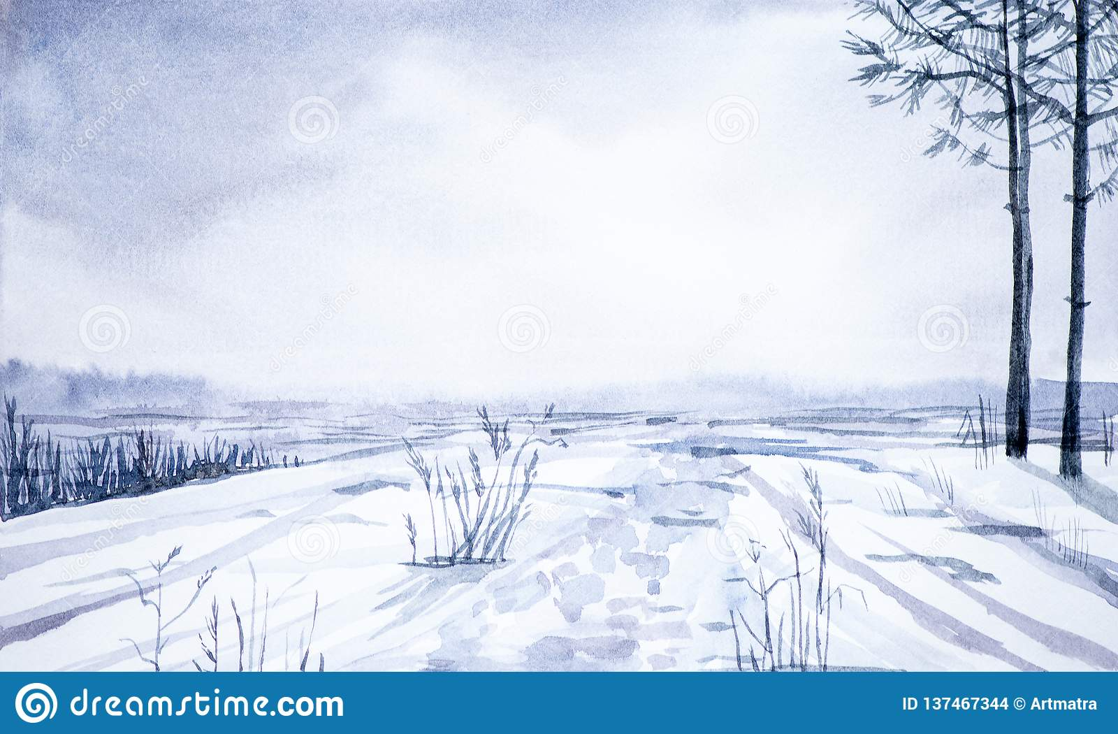Winter landscape of forest and snowy field. Hand drawn watercolor illustration