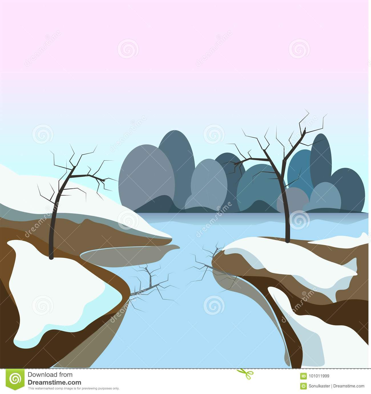 Winter Landscape With Frozen Water And Snow On Ground Transparent
