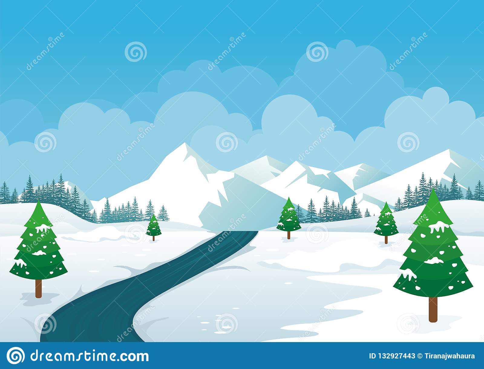 Winter Landscape with Lovely Cartoon design