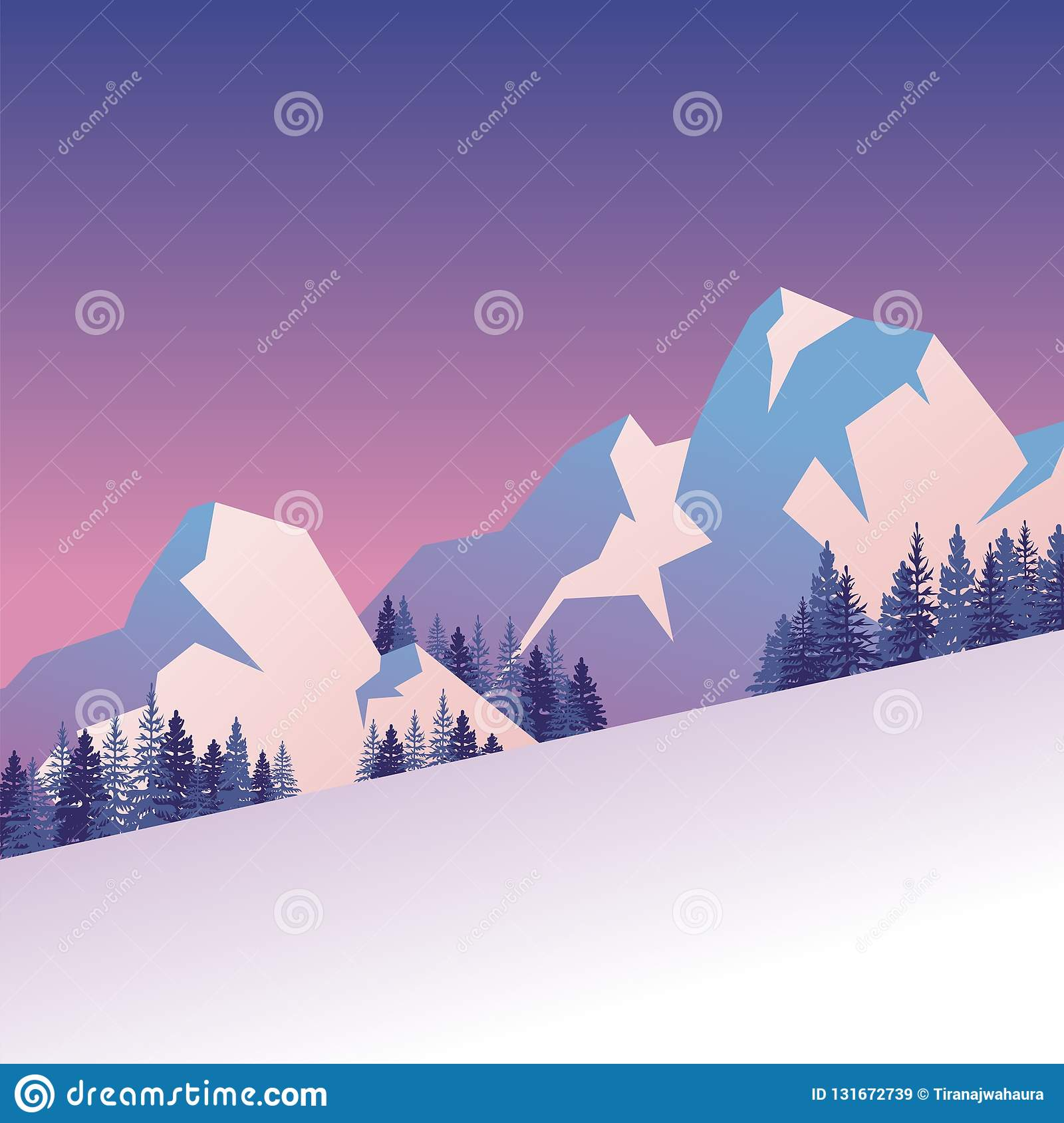 Winter Landscape with lovely scenery cartoon design