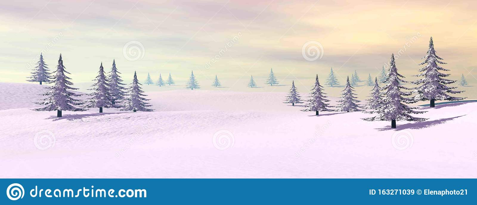 Winter landscape in the mountain - 3D render