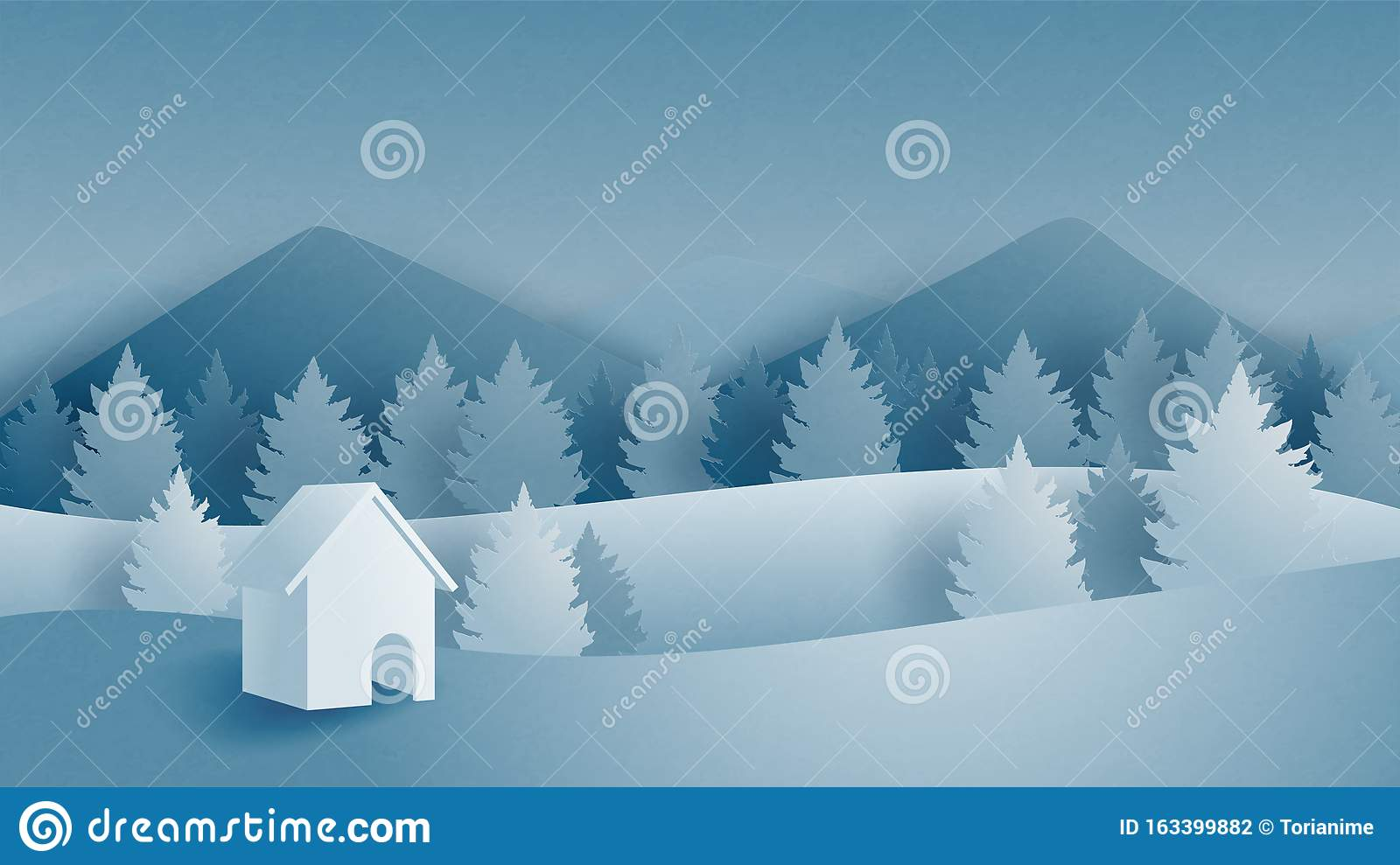 Winter Landscape With Mountain Forest And Cottage On Snow Filed In Paper Cut Style Vector Illustration Digital Craft Paper Art Stock Vector Illustration Of Forest Abstract 163399882