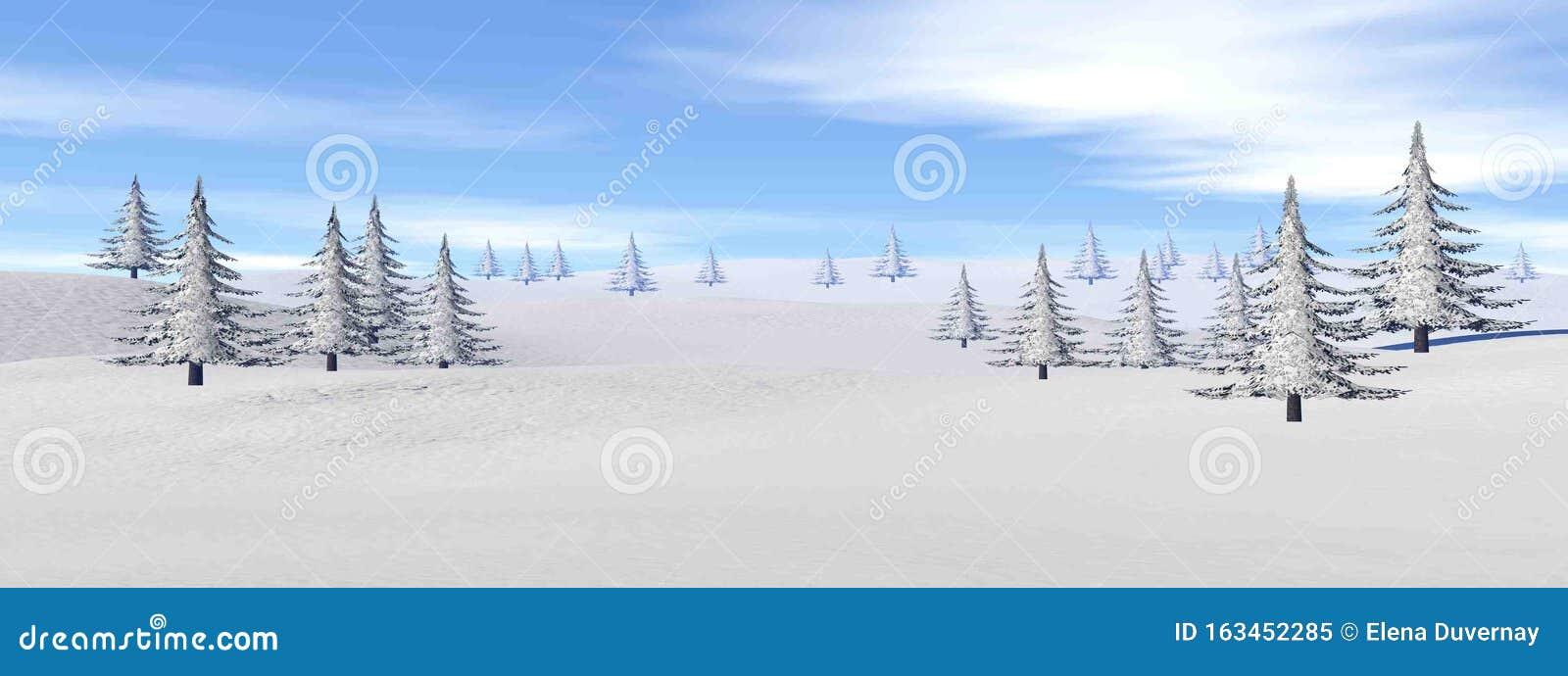Winter landscape in the mountain - 3D render