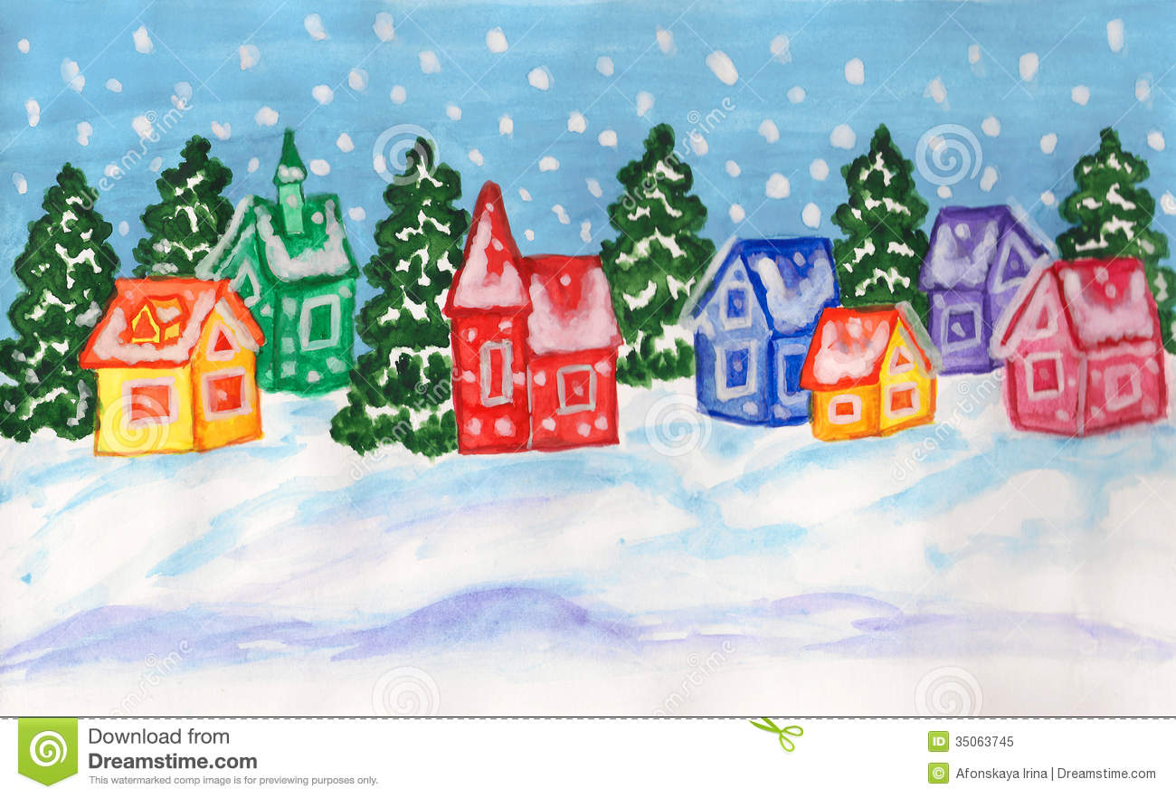 Winter Landscape With Multicolor Houses Painting Royalty