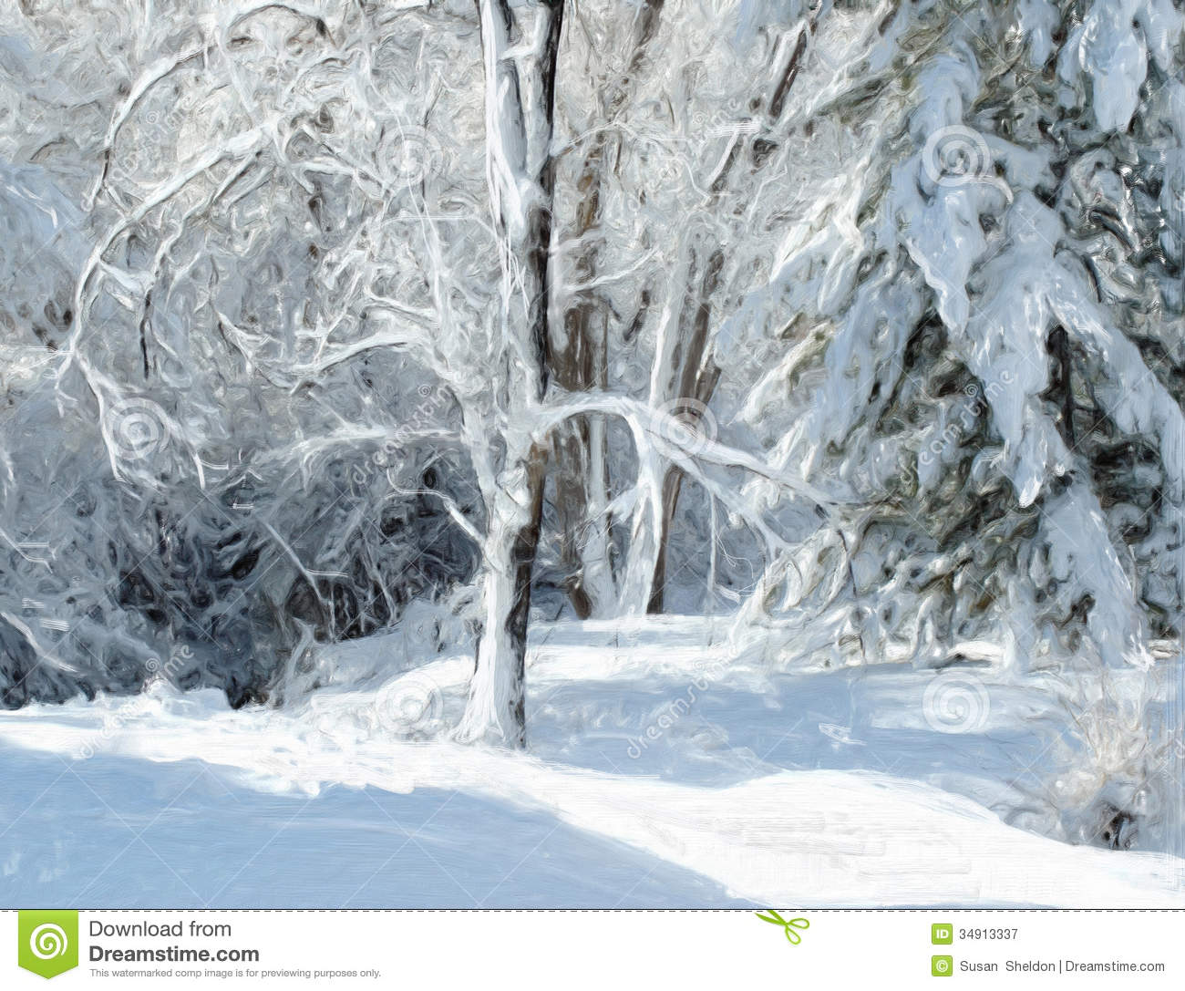 Winter Landscape Painting Stock Illustration Of Nature