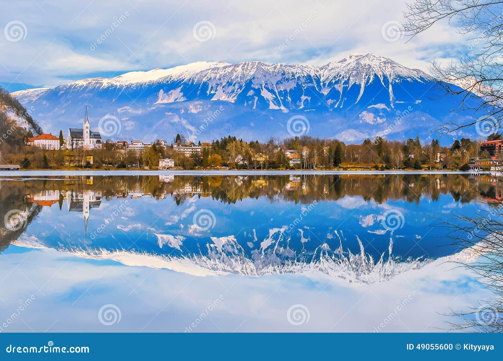 sky blue mountain reflection - photo #36