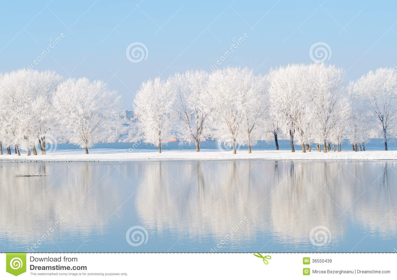 Winter landscape with reflection in the water