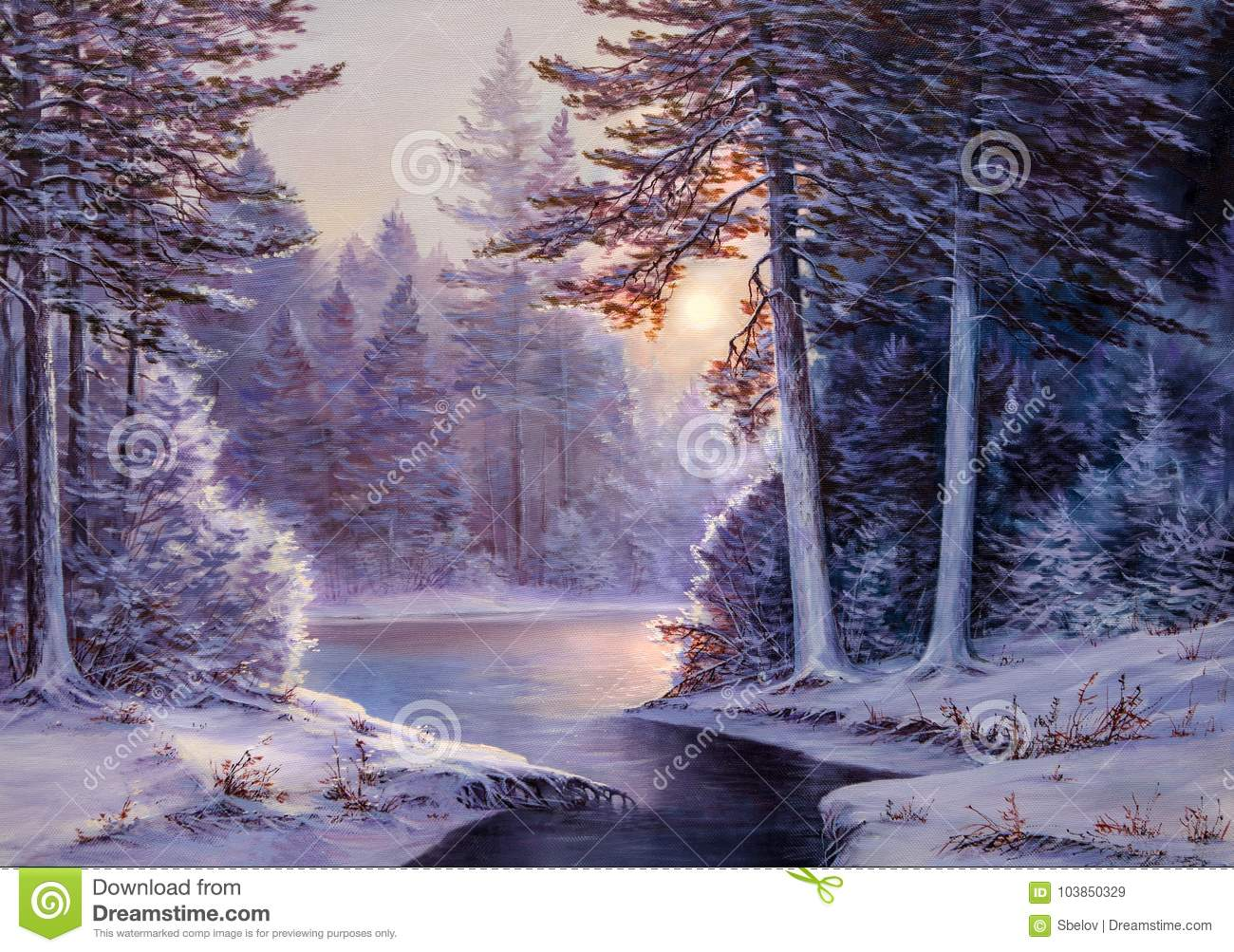 Christmas Forest.Christmas Forest With River Stock Image Image Of Nature