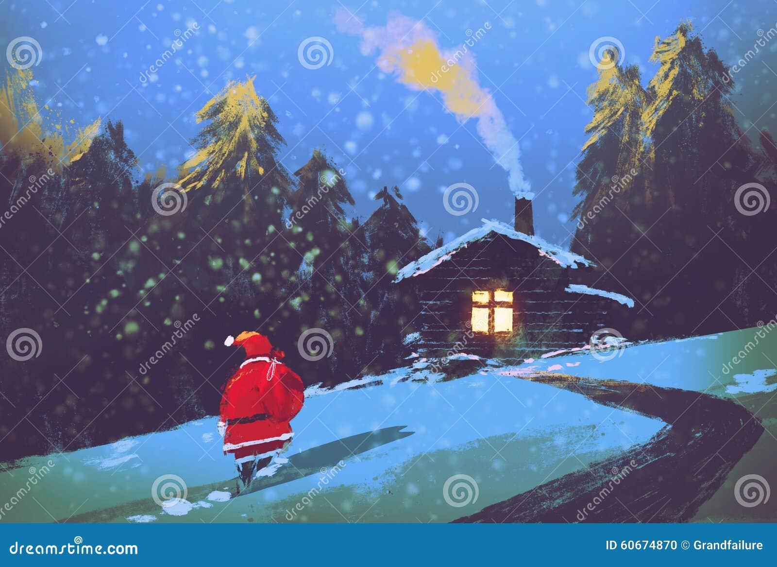 Santa claus and wooden house at christmas night illustration painting
