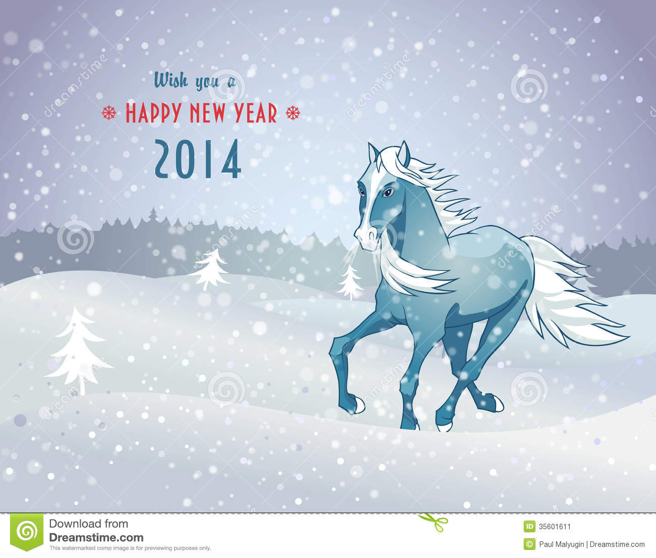 Winter Landscape With Snow Horse New Year 2014 Stock ...
