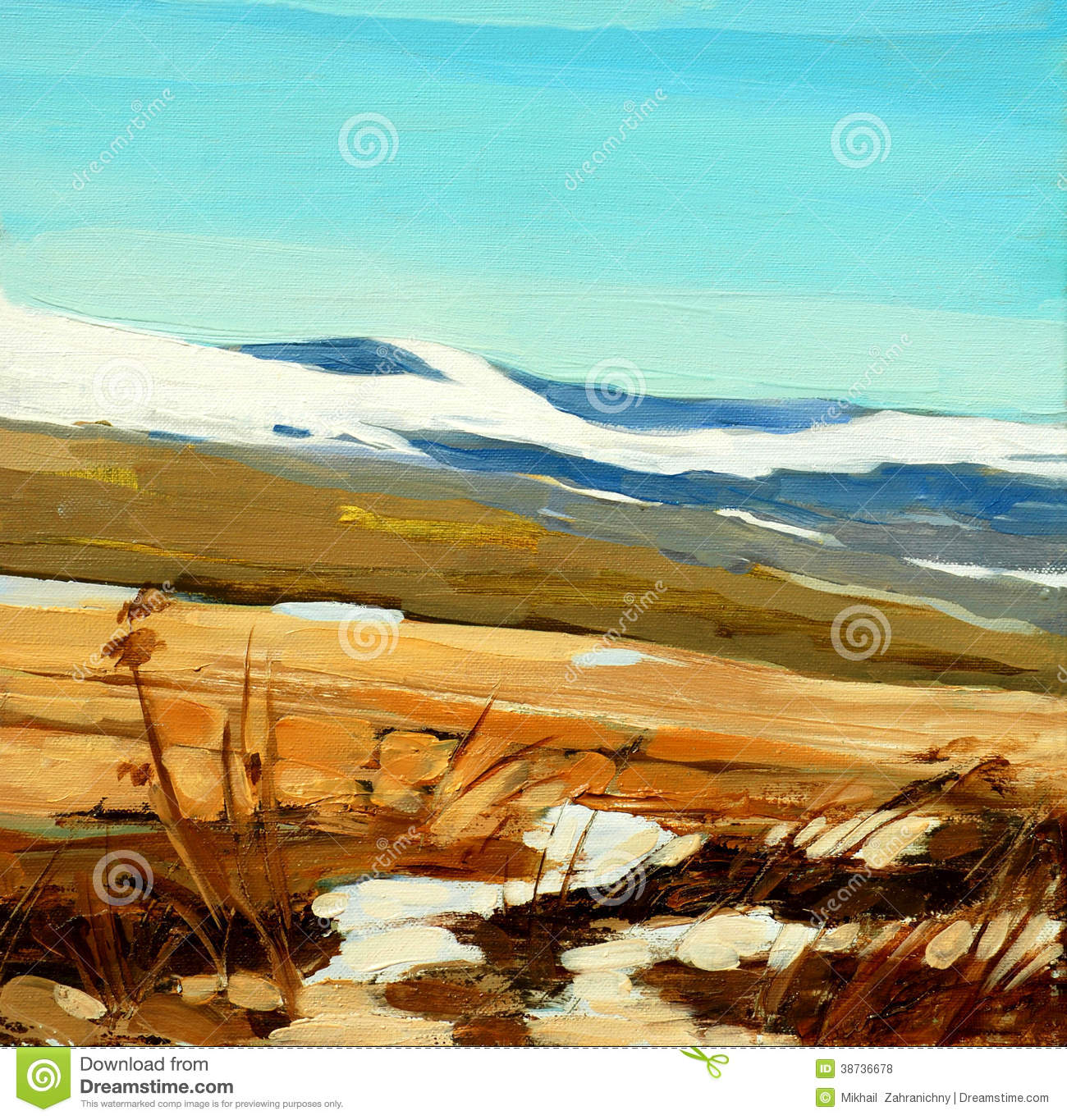 Winter Landscape In Spanish Mountains Painting Royalty