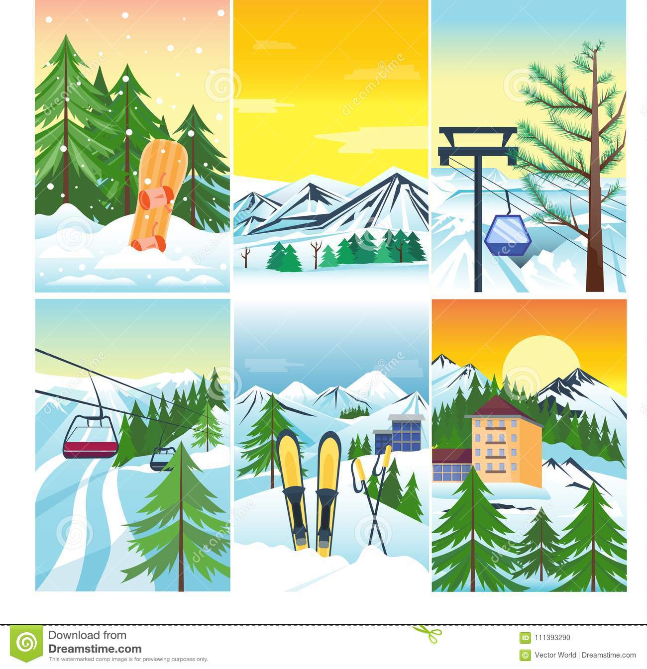 Winter Landscape Vector Snow And House Tree Mountain Snowboard Frozen Wallpaper Vintage Beautiful