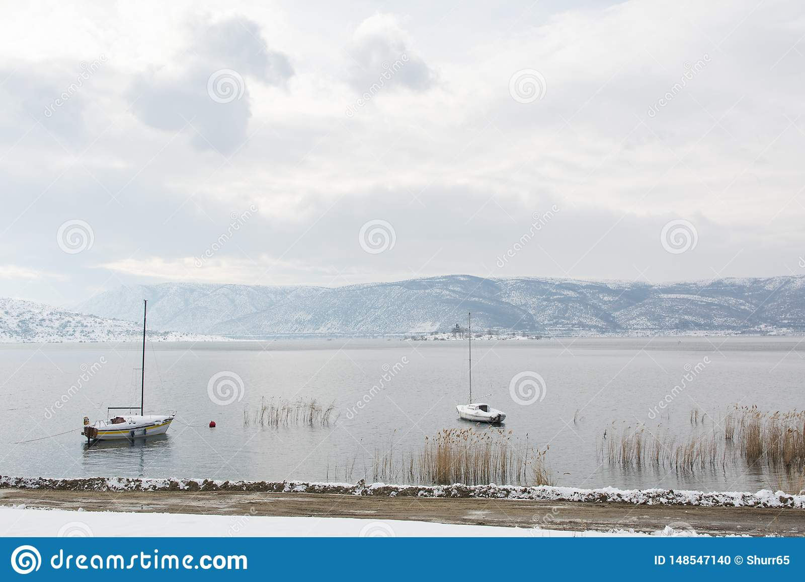 Winter landscape in Vegoritis lake.