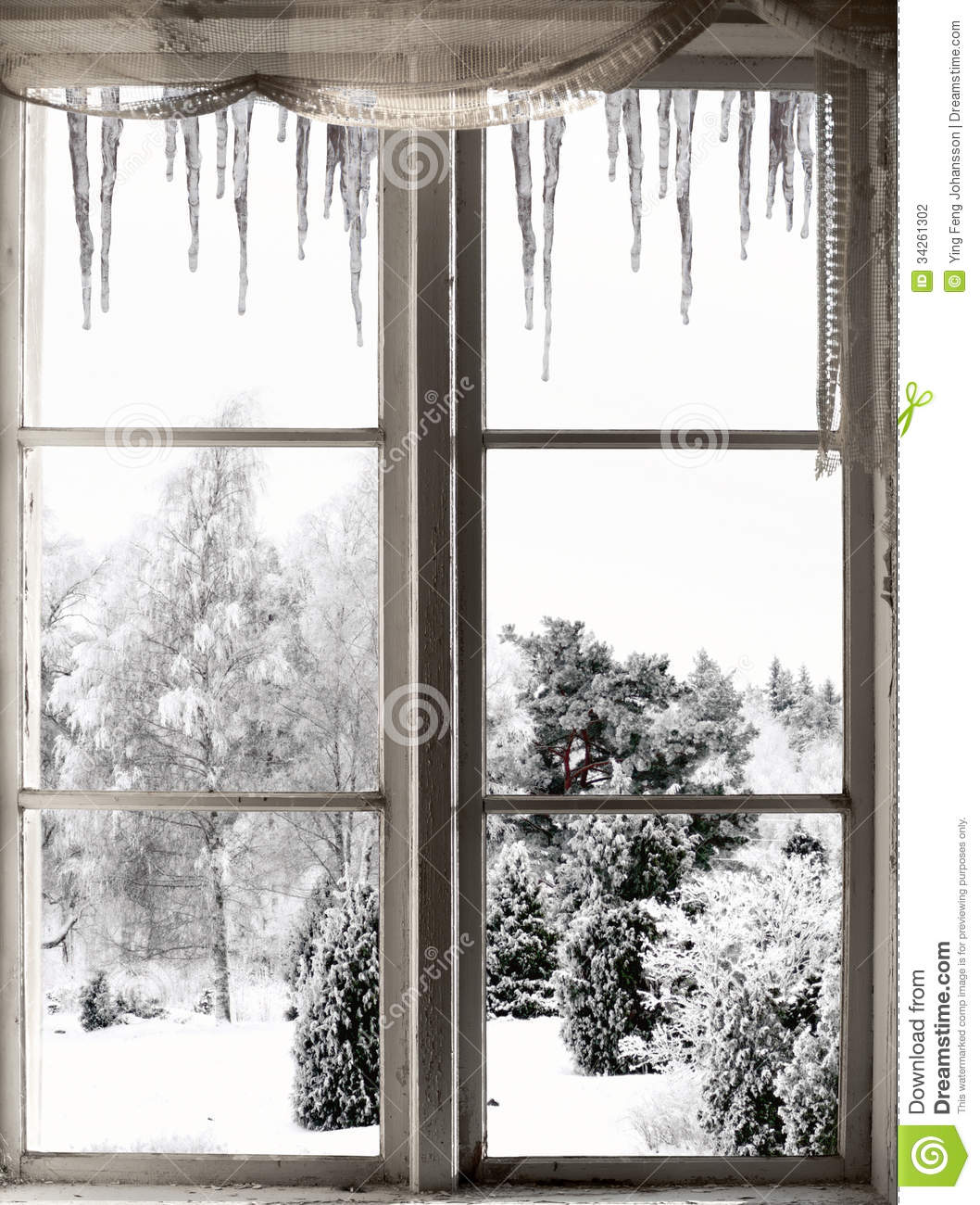 Winter Landscape Viewed Through Window Stock Photography