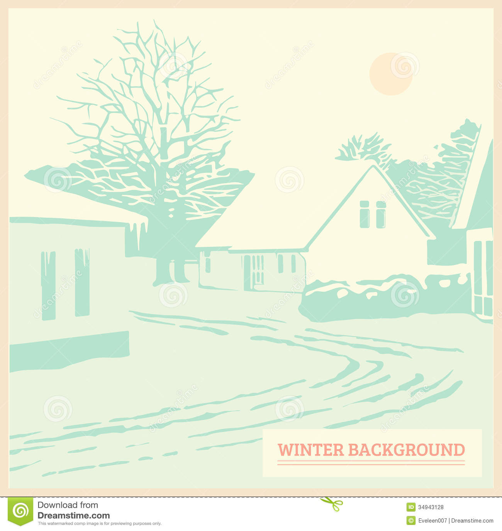 Winter Landscape, Vintage Christmas Background, Card, Royalty Free ...