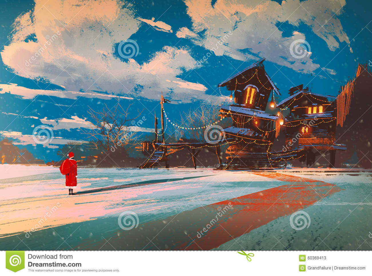 Christmas house painting - Winter Landscape With Wooden House At Christmas Night Stock Illustration