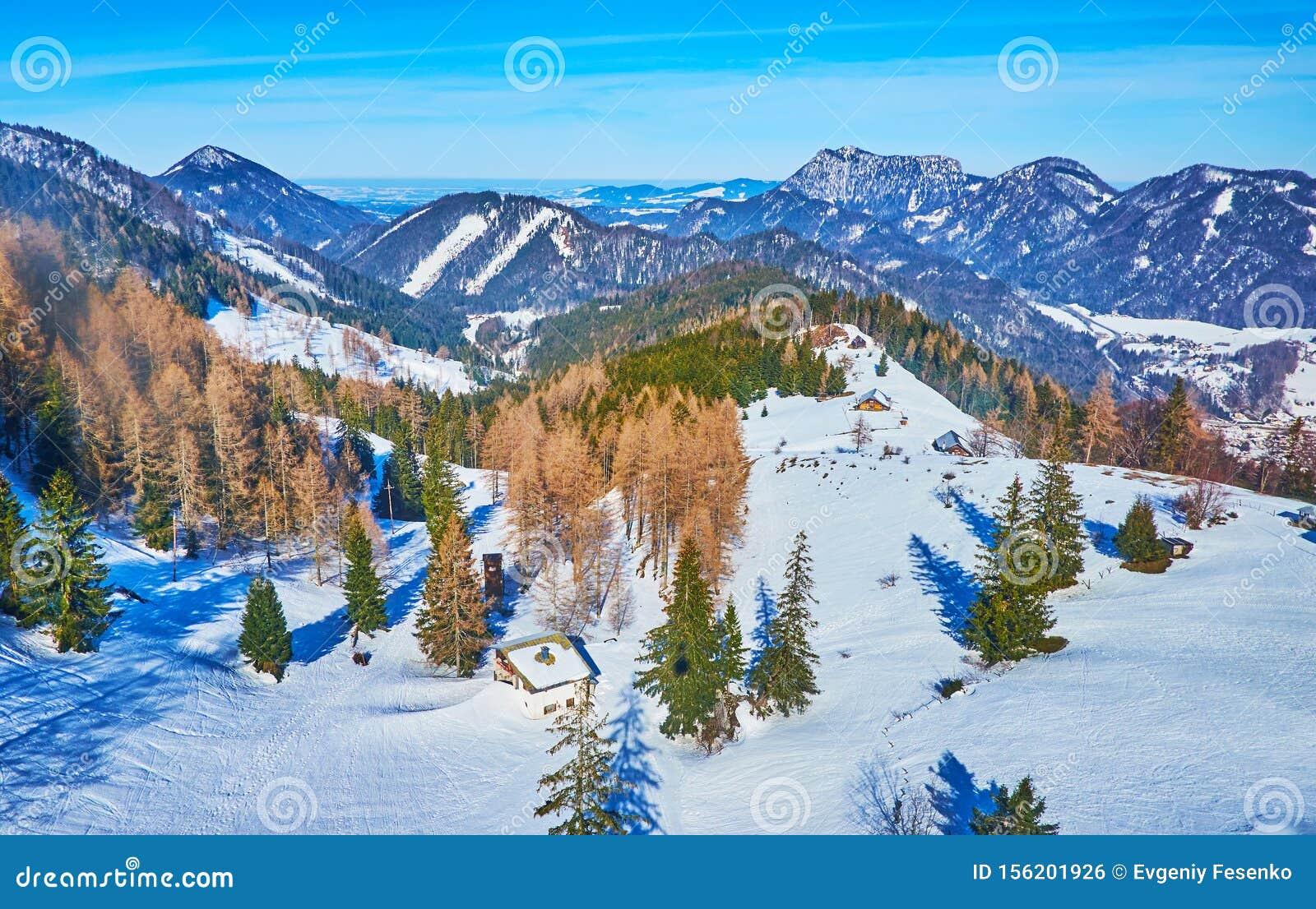 The winter landscape from Zwolferhorn cable car, St Gilgen, Salzkammergut, Austria