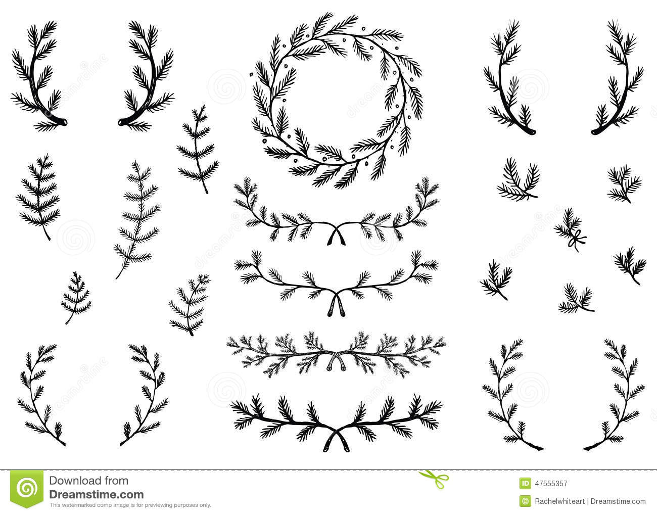 ... drawn pine branch illustrations of laurels, accents, and a wreath