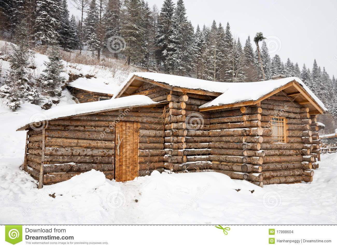 Winter log cabin stock images image