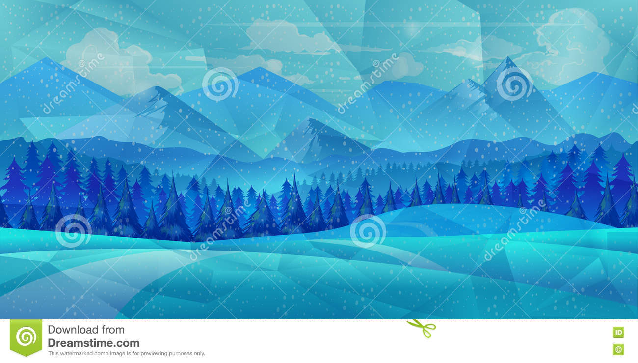Winter low poly background with road and polygonal firs trees. Landscape season, frost outdoor snowfall