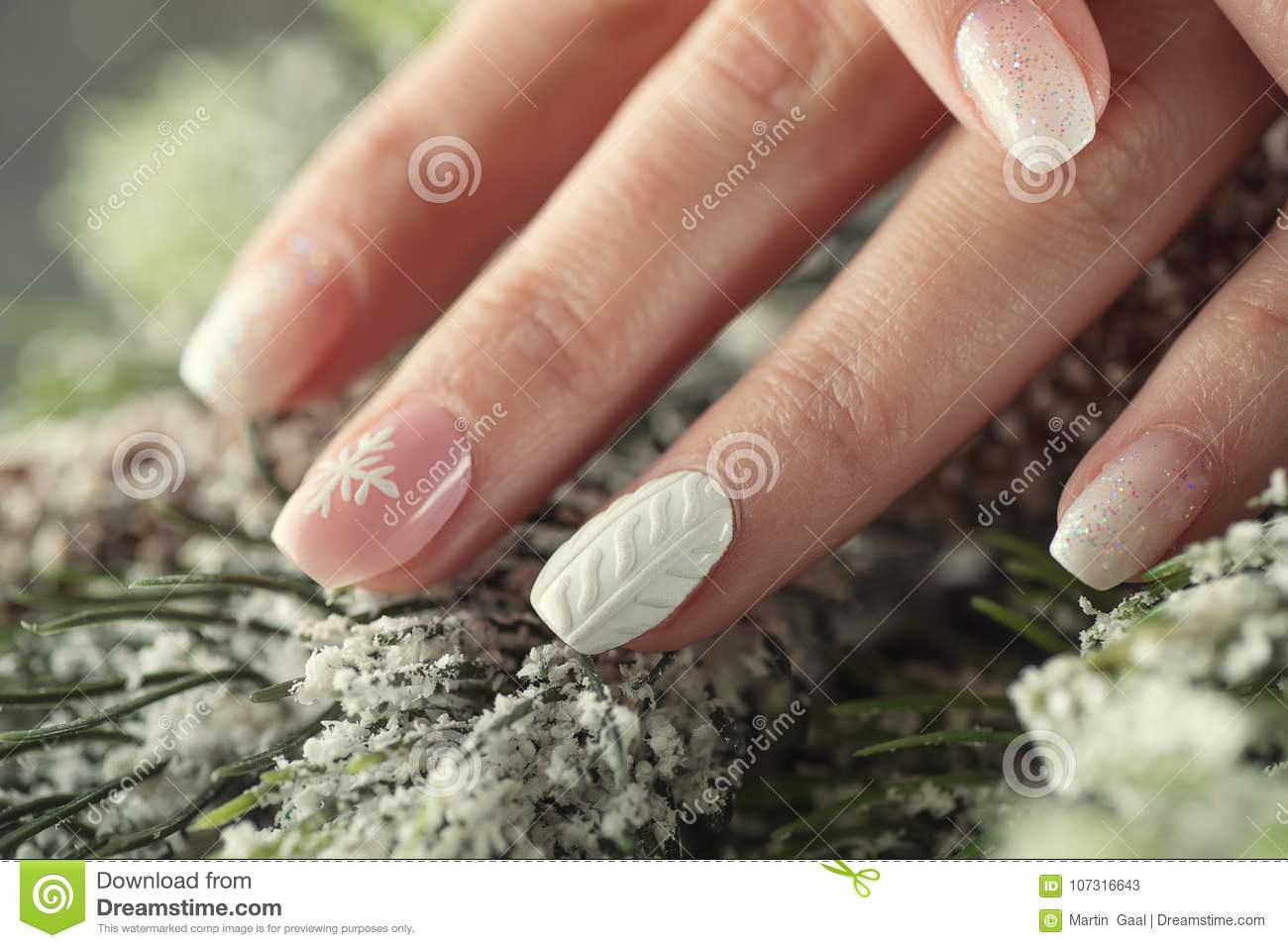 Winter Manicure Design Nails Soft Pink And White Colour Stock Image