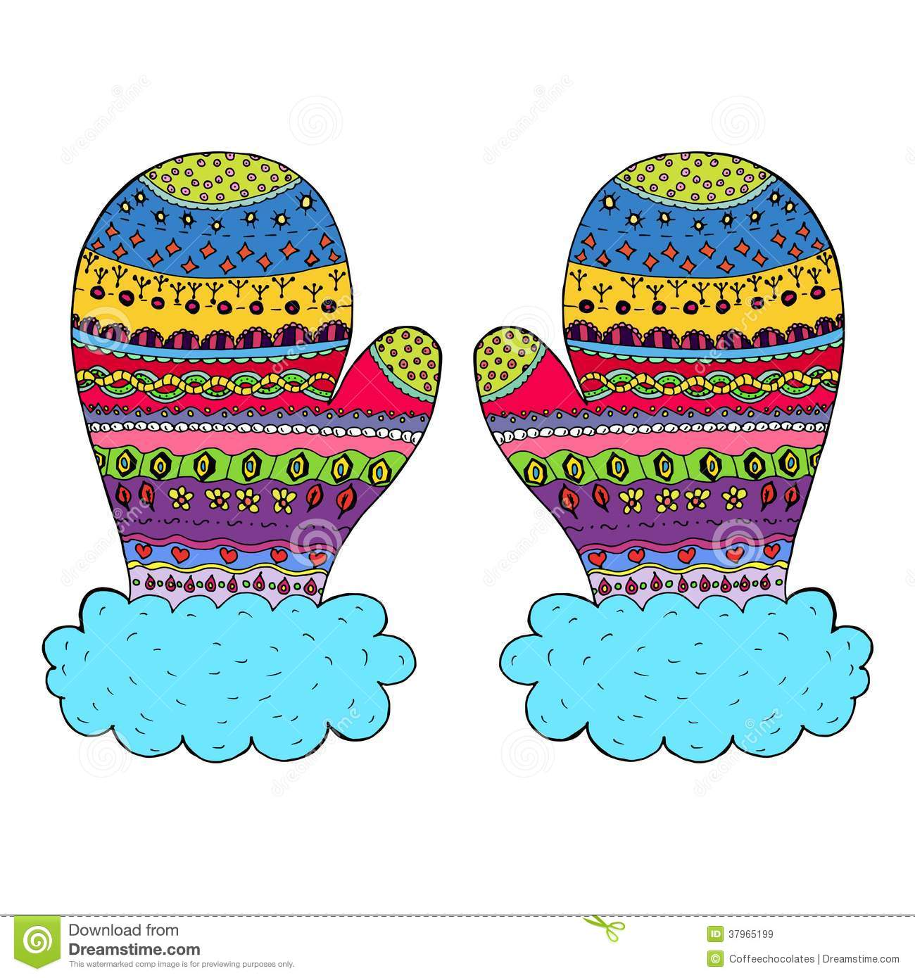 Winter mitten  vector Royalty Winter Mittens Clip Art