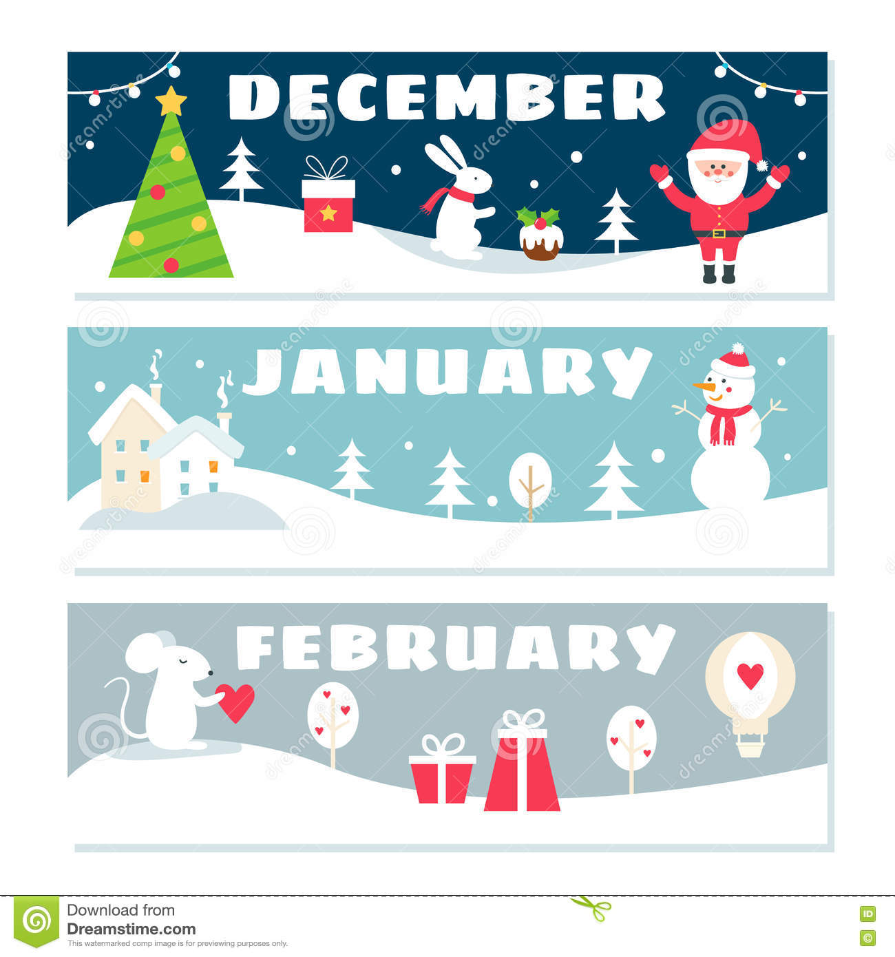 winter months calendar flashcards set nature holidays symbols illustrations vector design 82402867