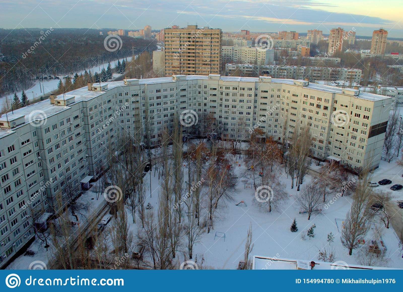 Winter morning in the Central District of Tolyatti overlooking one of the many 9-storey residential buildings.