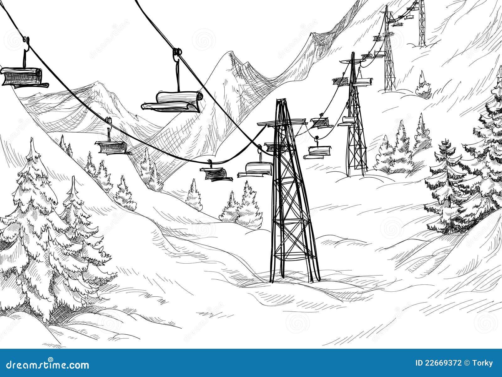 Paesaggio Di Montagna Disegno.Winter Mountain Stock Vector Illustration Of Chair Pine 22669372