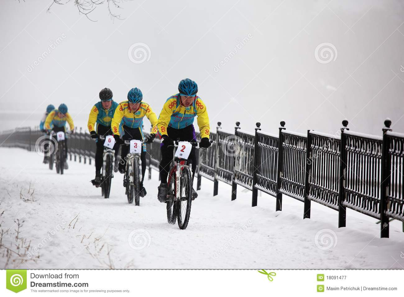 Winter Mountain Bike Competition Editorial Photography ...