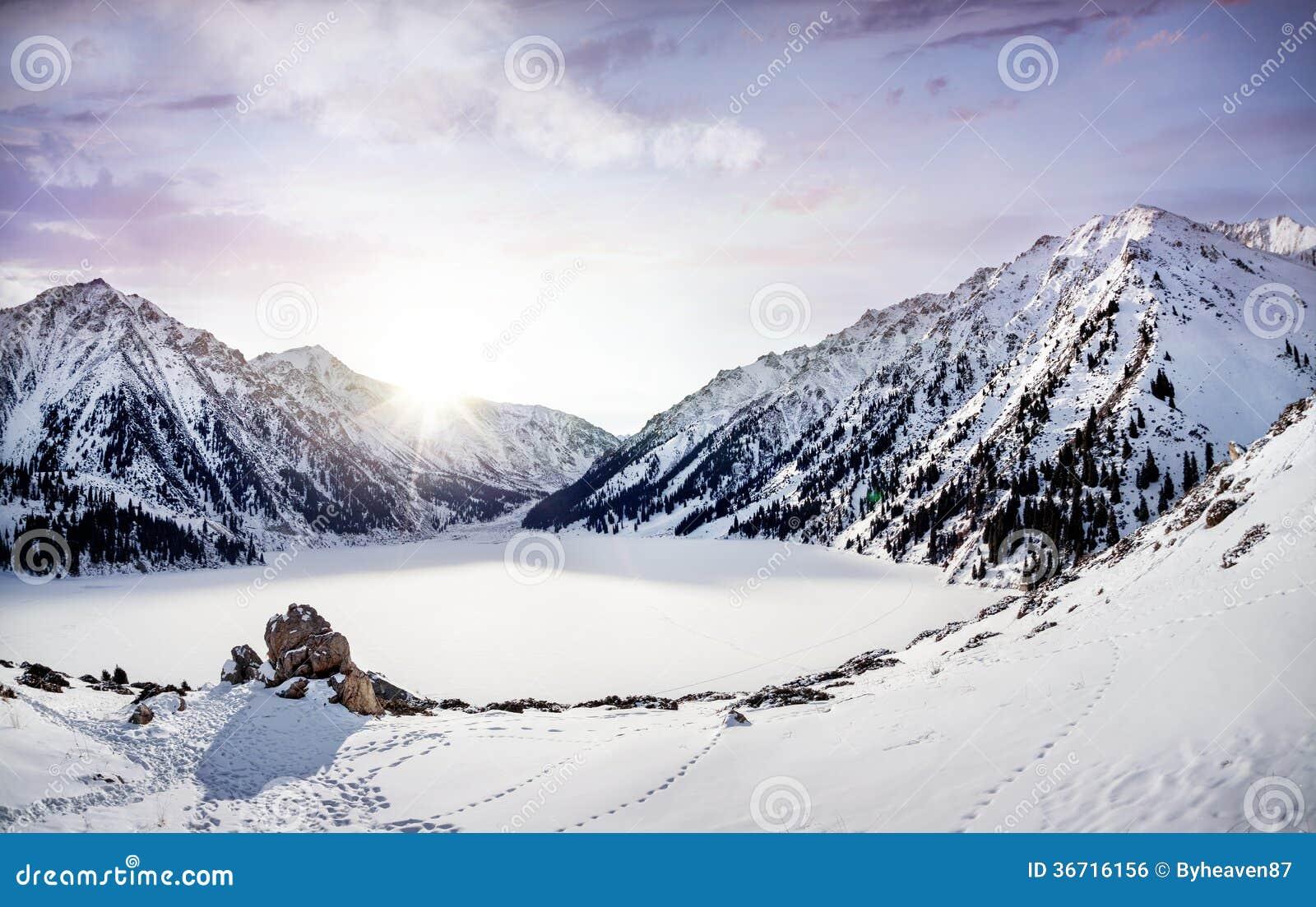 Winter Mountain Lake Royalty Free Stock Image - Image ...
