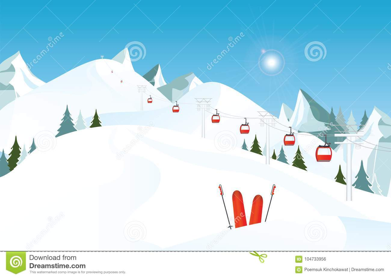 Winter mountain landscape with pair of skis in snow and ski lift