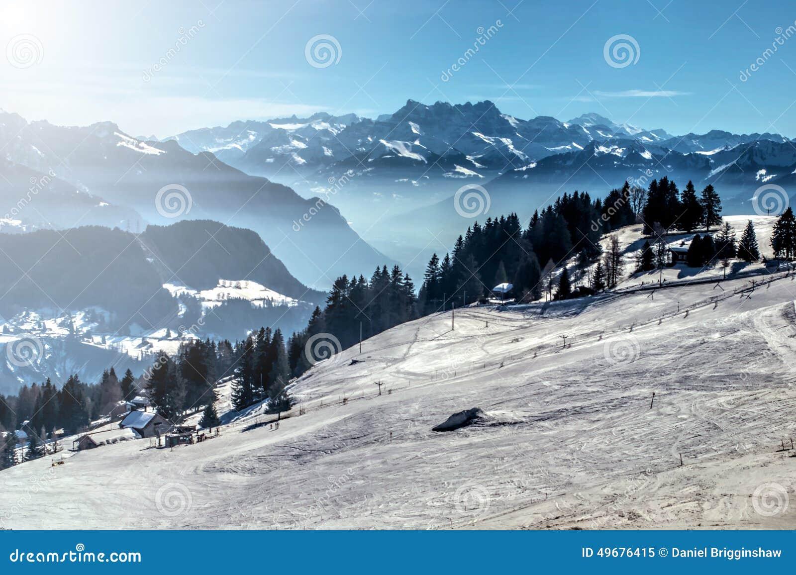 Winter mountain ski slope