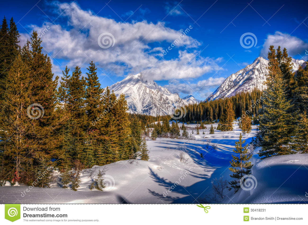 Snowy winter scenery in the Canadian Rocky Mountains - Kananaskis ...