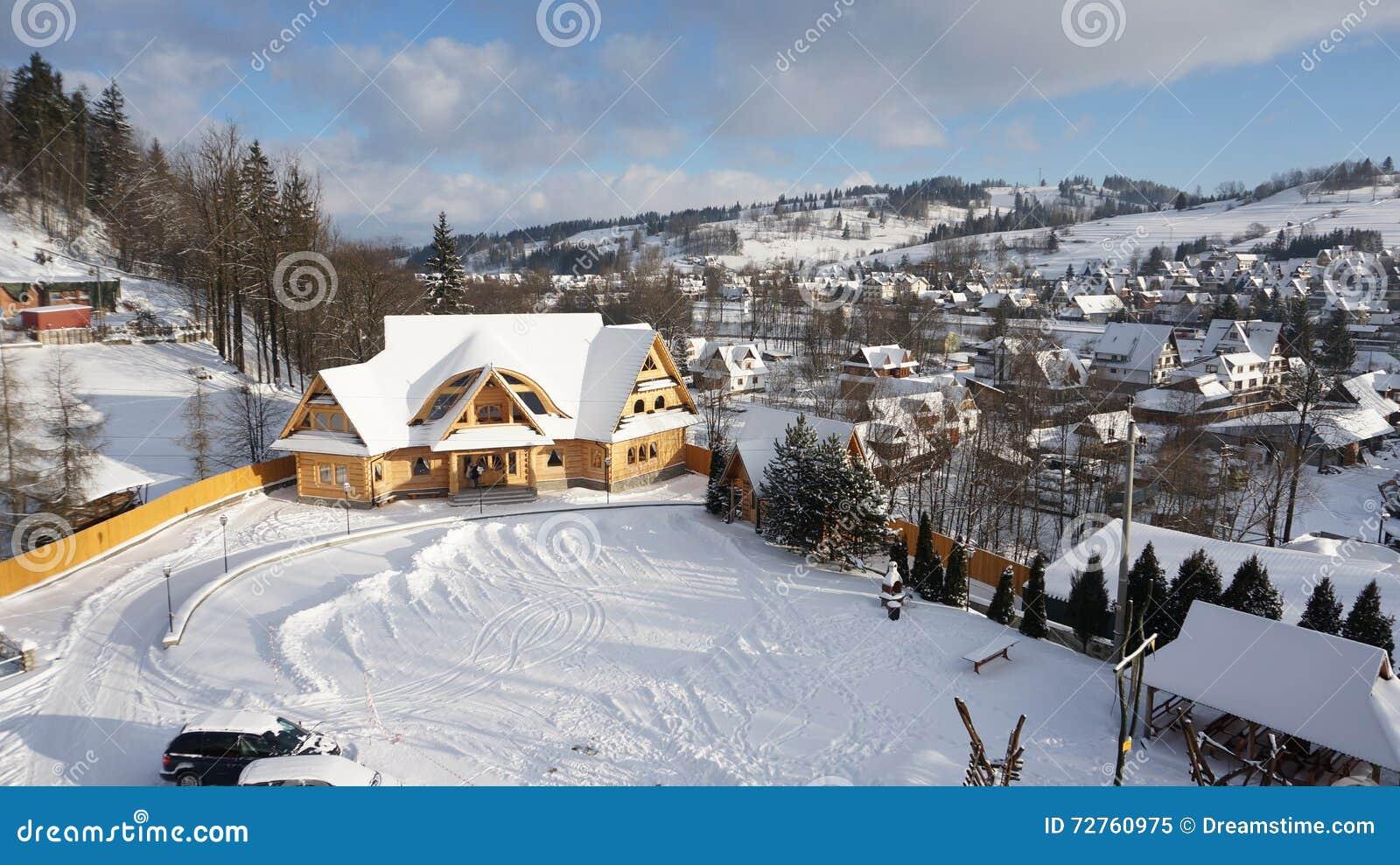 Winter Nature Of The Village Ski Resort Of Zakopane Poland Stock
