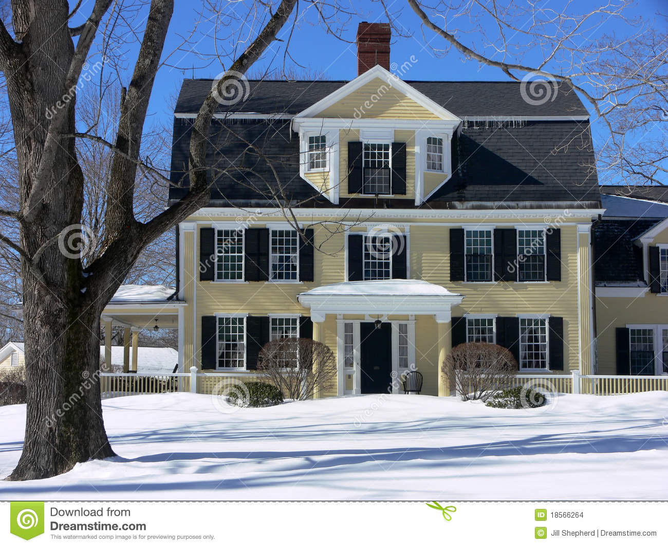 Winter new england house in snow stock photo image for New england house