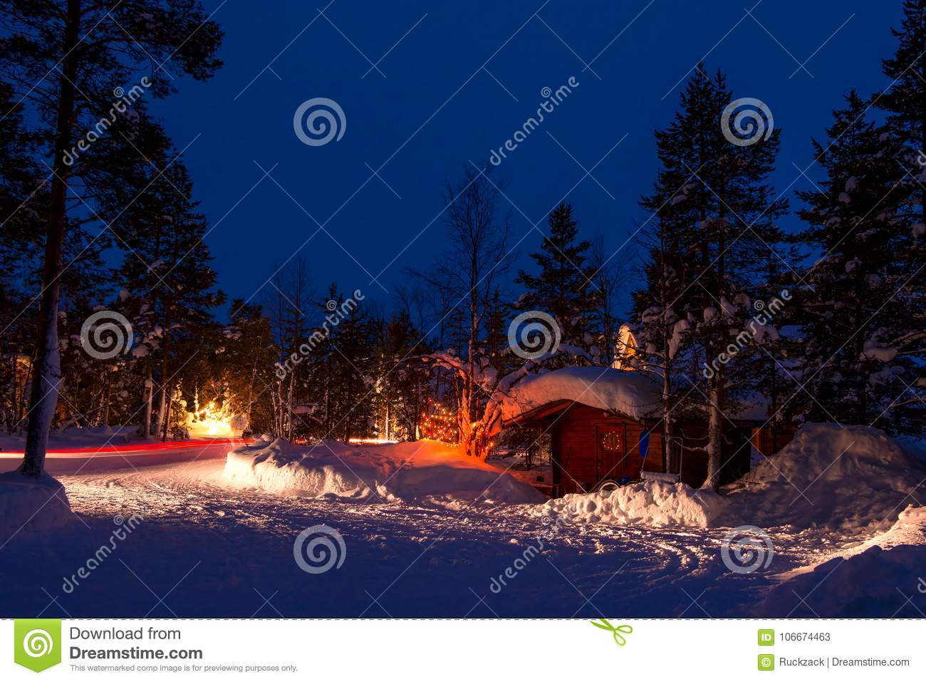Christmas Lights For Camping.Car Lights In A Winter Forest Camping Stock Image Image Of