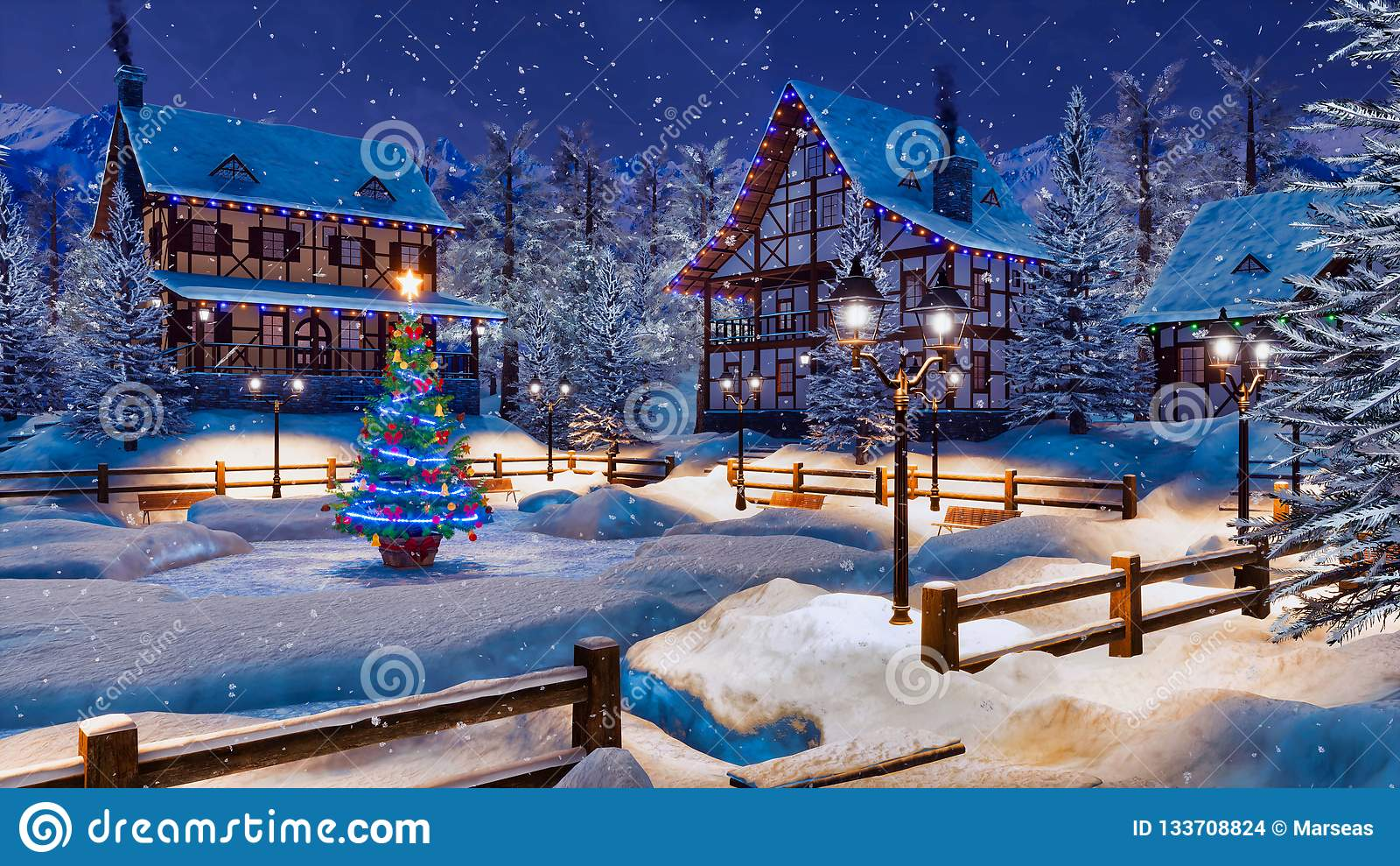 Christmas Mountain Village.Winter Night Before Christmas In Mountain Village Stock
