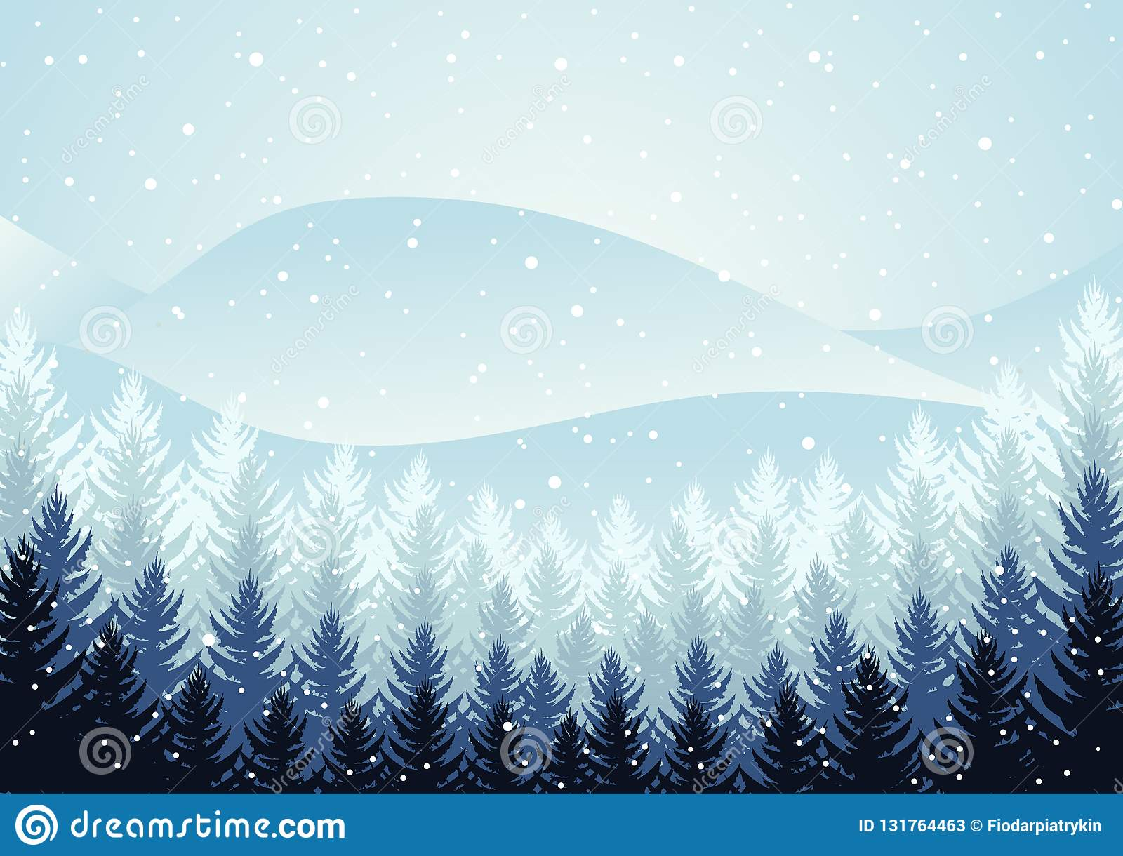 Christmas Weather.Winter Night Forest Falling Snow In The Air Christmas