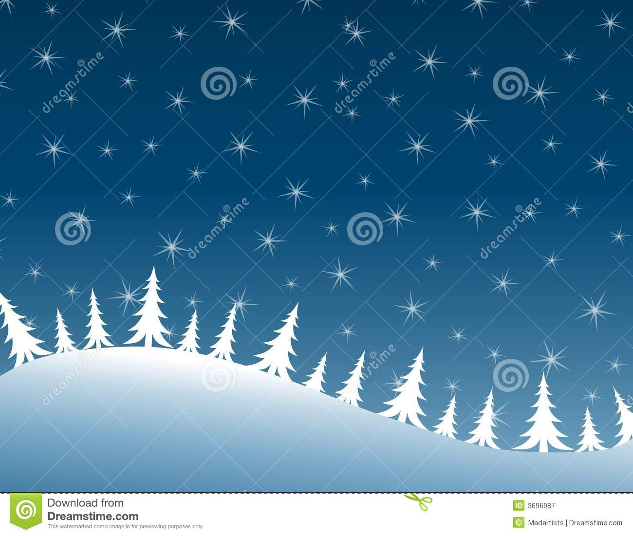 clip art illustration featuring a row of white Christmas trees ...