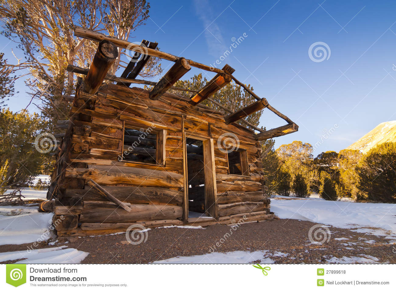 Winter Old West Cabin Stock Photo Image Of Historic