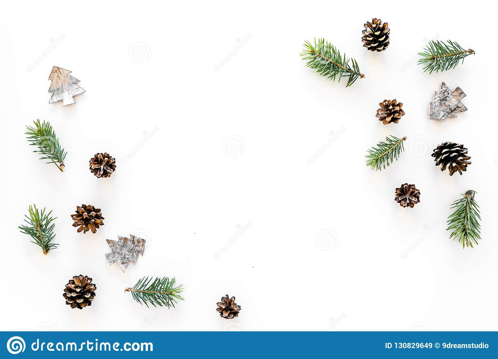 Winter ornament, New Year pattern. Pine sprigs, cones, spruce figure, fir oil on white background top view space for