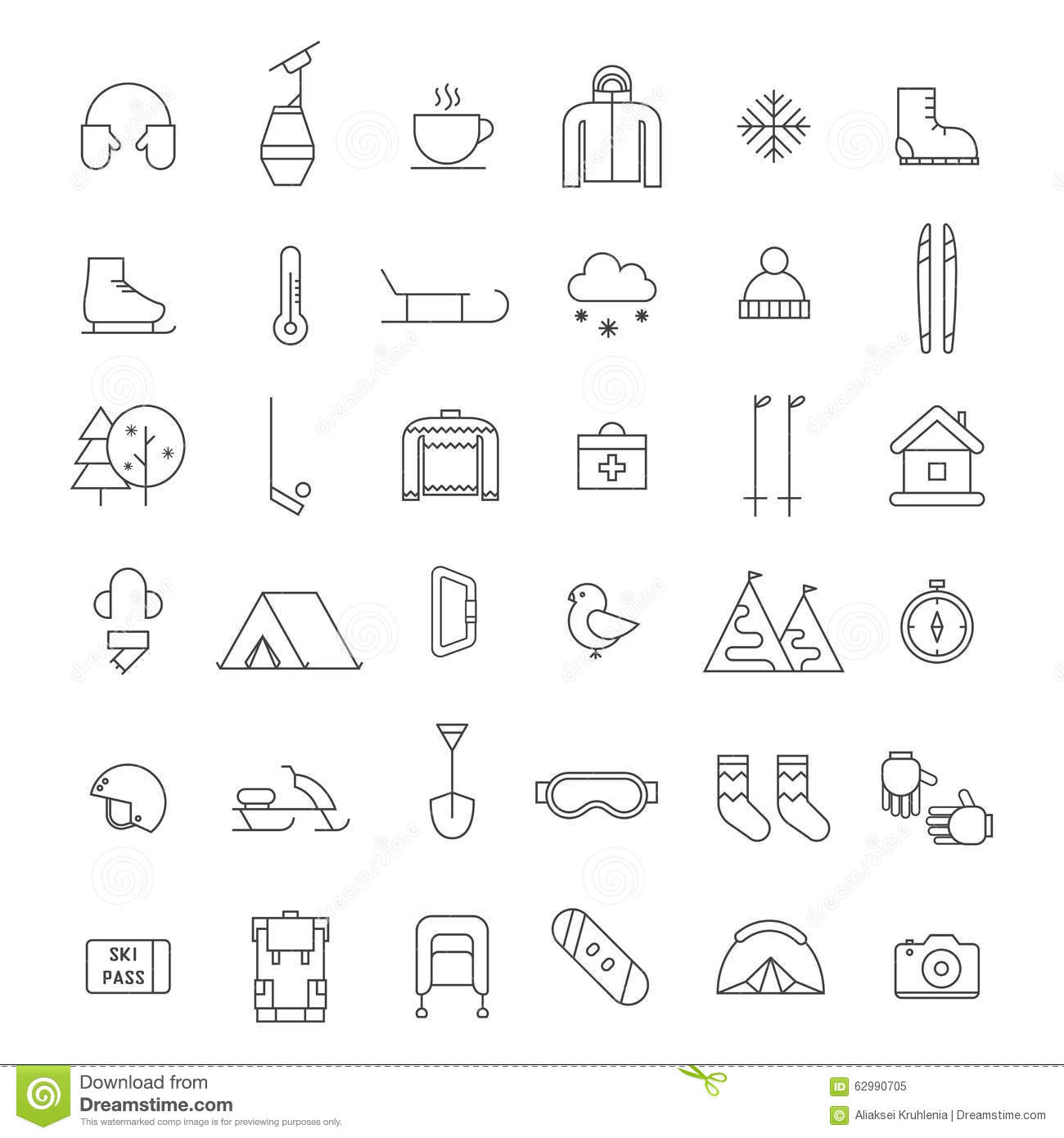 efe94ed47977 Winter activities thin line icon set. Winter sports shape icons. Winter  travel