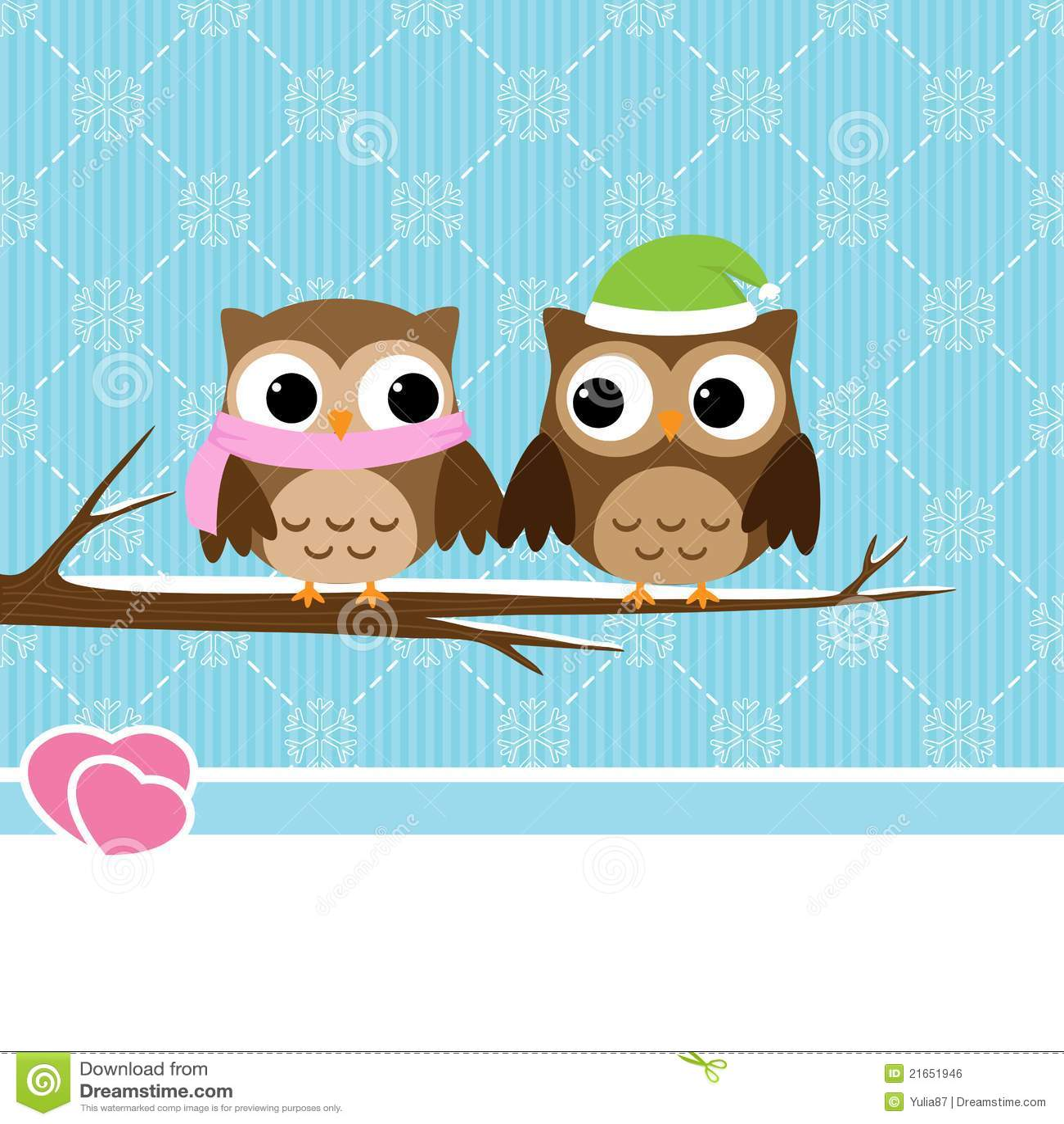 Winter Owl Couple Royalty Free Stock Image - Image: 21651946