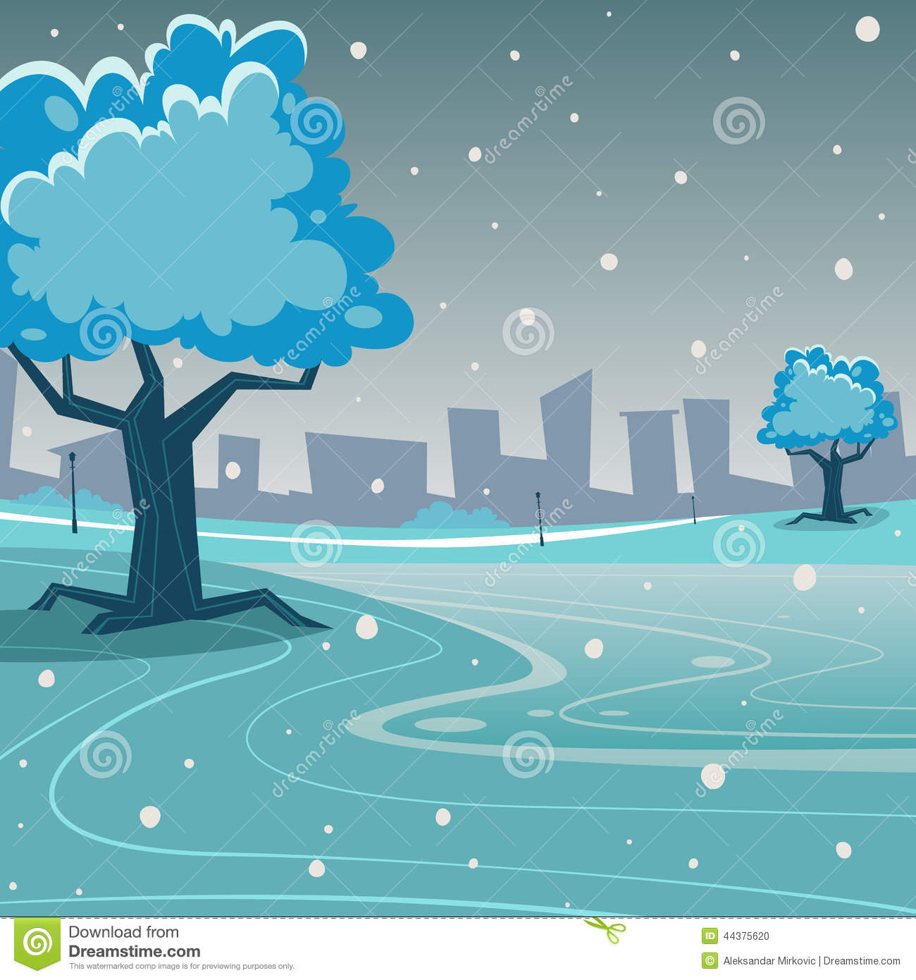 Cartoon illustration of the winter in the park with cityscape in ...