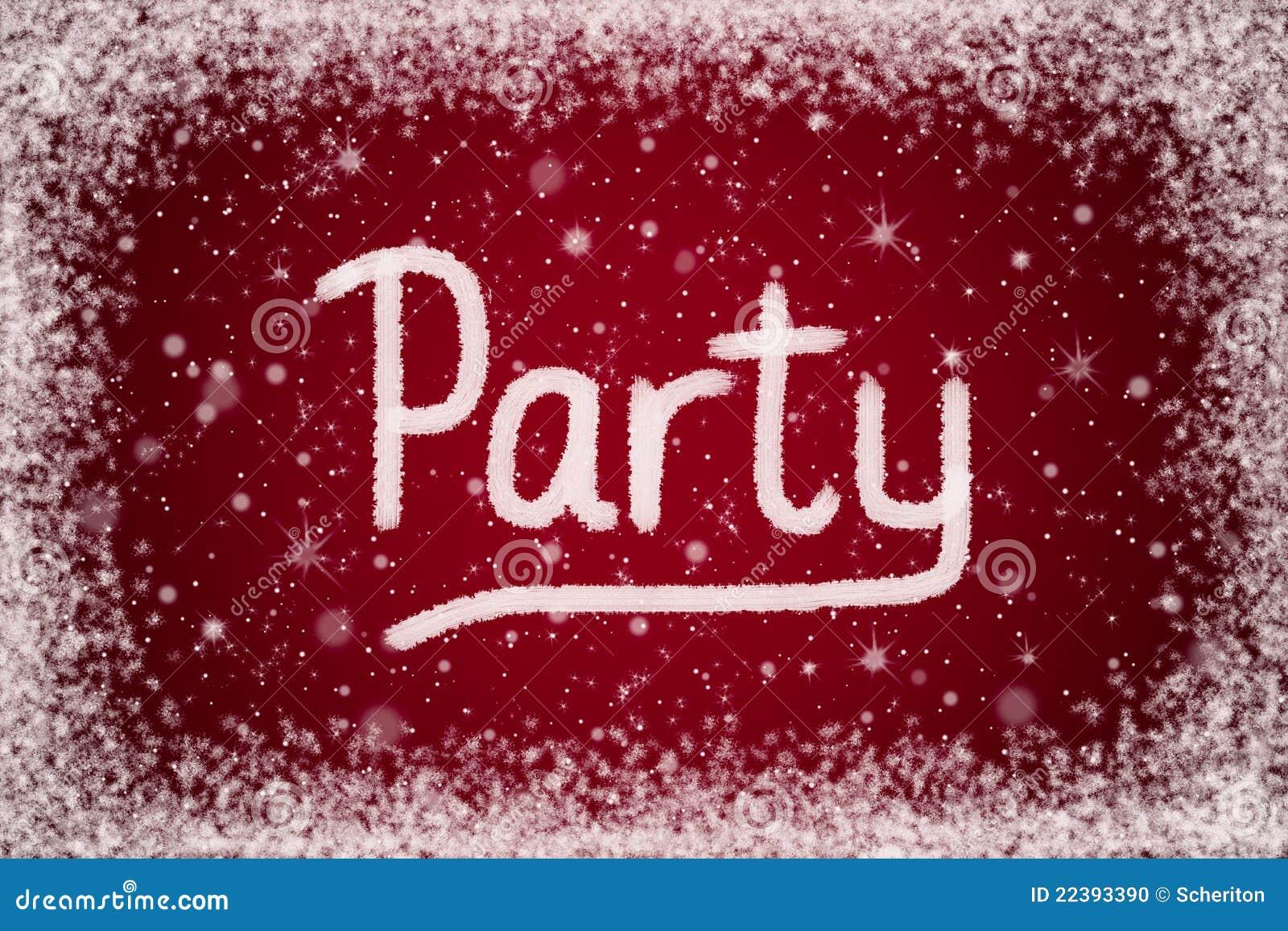 winter-party-einladung auf rotem schnee-hintergrund stockfoto, Einladungskarten
