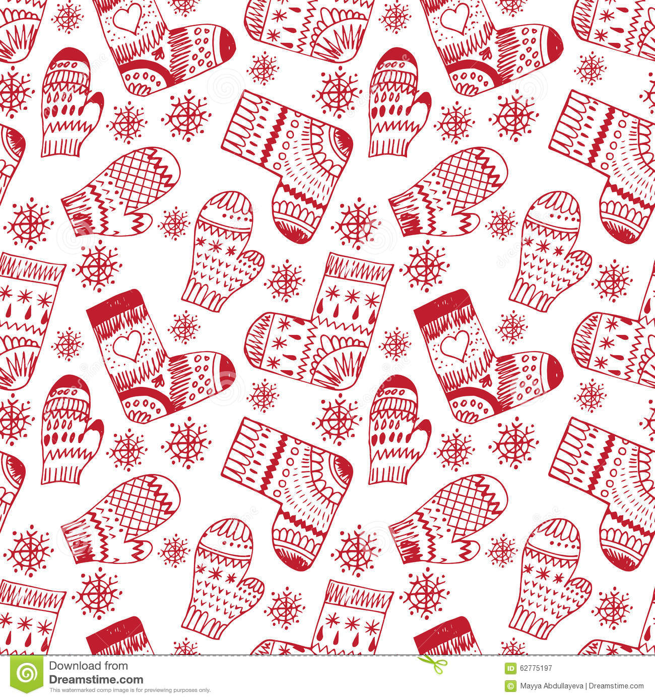 Winter Pattern With Mittens And Socks Stock Vector - Image: 62775197