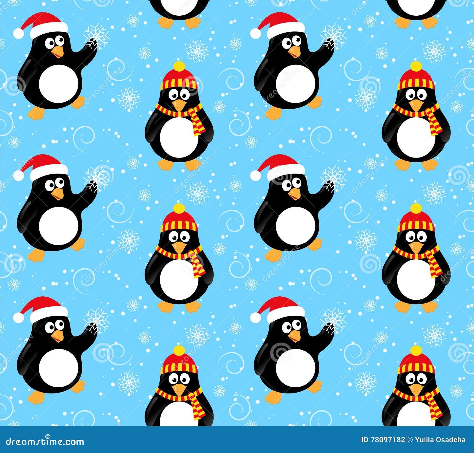 Winter penguin pattern