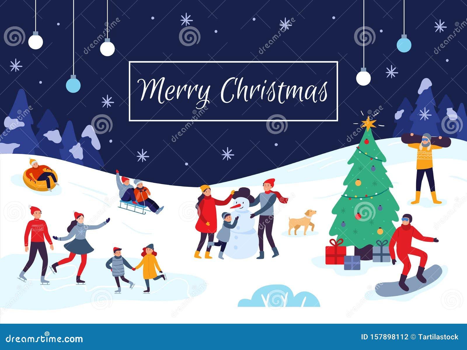 Christmas 2020 Activities For Kids Winter People Merry Christmas Card. Snow Activities, Happy Kids
