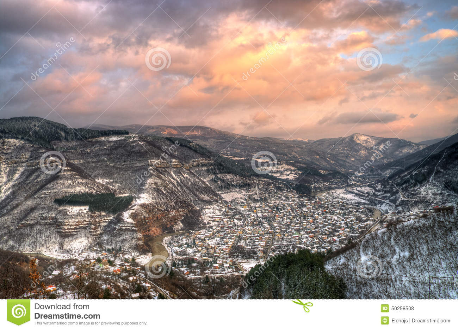 Winter picture with sunset near Tserovo, Bulgaria
